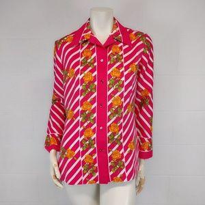 Vintage 70s CA Hot Pink Striped Floral Shirt M